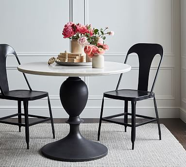 Chapman Round Marble Pedestal Dining Table Dining Table Marble
