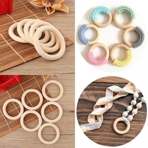 Natural Wooden Crochet Baby Teether Wood Teething Bracelet Ring Rattle Toy CB