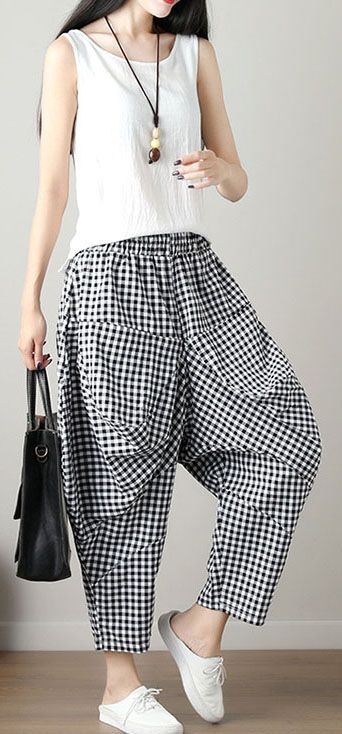 Women Black Plaid Casual Cotton Pants Plus Size Big Pockets Crop Pants Estilo