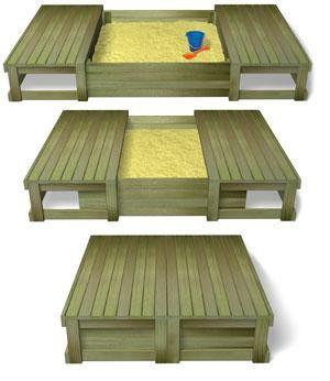 sliding lid sandpit
