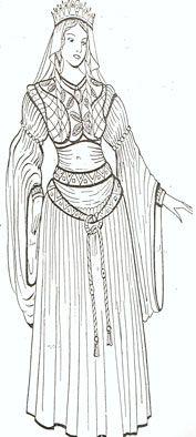 Le costume féminin se compose d'une tunique, le chainse, aux manches ajustées, d'une tunique le bliaud, taillé dans un tissu fin. Les manches sont très évasées laissant voir le chainse. Les galons et les broderies ornent l'encolure et les poignets. Elles portent aussi un genre de boléro le gipon, très ajusté moulant le buste et une ceinture qui enserre la taille et revient sur le devant pour former un noeud, dont les cordelières tombent sur le bliaud
