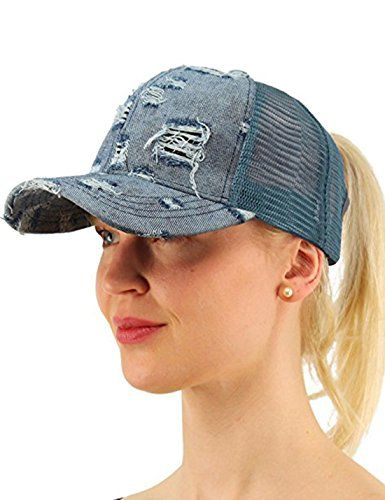 cb6626c70 Messy Buns Damaged Denim Fabric with Ponytail Baseball Cap for Women ...