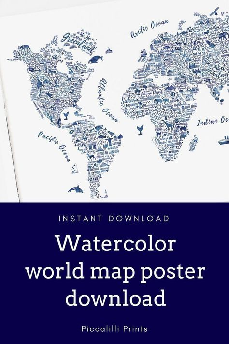World map watercolor print art print travel home decor poster stunning blue watercolor world map wall art download yours today world map gumiabroncs Images