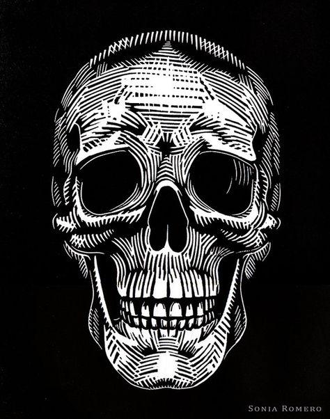 Calavera Skull Linocut by SheRidesTheLion on Etsy