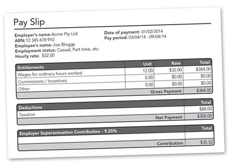 Free Australian Auto-Calculating PDF Pay Slip Download Business - employee salary slip sample