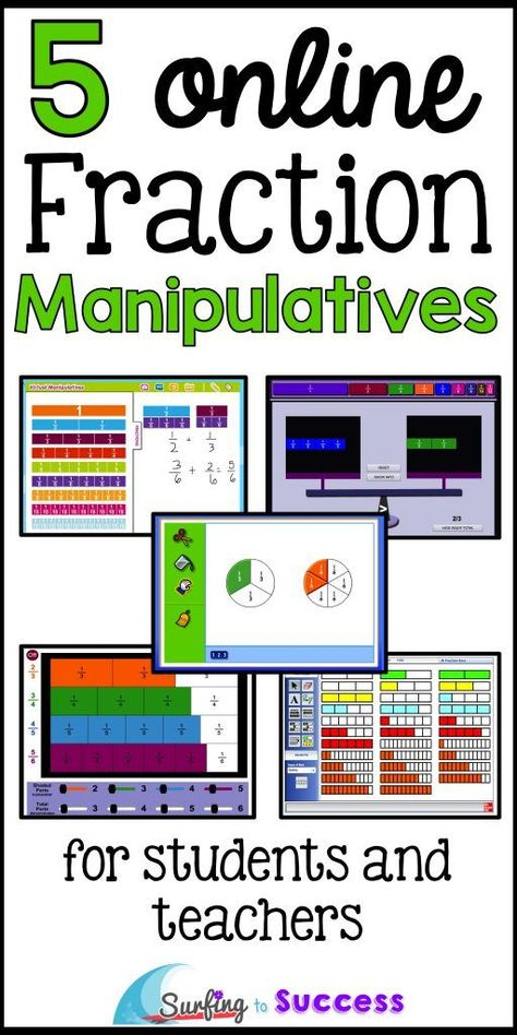 5 Online Fraction Manipulatives - Surfing to Success Fraction manipulatives make fractions concrete. You can display these 5 online fraction manipulatives on a smart board during lessons. Students can also use these on chromebooks, iPads and laptops. 3rd Grade Fractions, Teaching Fractions, Fifth Grade Math, Math Fractions, Multiplication, Teaching Math, Math Math, Fourth Grade, Comparing Fractions