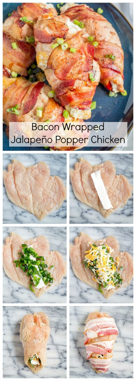 This easy to prepare Bacon Wrapped Jalapeño Popper Chicken recipe captures the flavors of one of my favorite guilty pleasure appetizers. The best part is that the active preparation time is only 10 minutes! Jalepeno Popper Chicken, Bacon Wrapped Jalapeno Poppers, Chicken Bacon Wrap, Jalapeno Cream Cheese Bacon, Chicken Gravy, Chicken Bites, Roasted Chicken, Cheddar Cheese, Fried Chicken