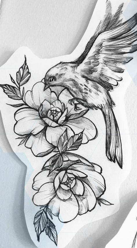 Tattoos Flower With a Bird Tattoo Design - Easy Flower Tattoos. - Tattoos Flower With a Bird Tattoo Design – Easy Flower Tattoos – Easy Tattoos -