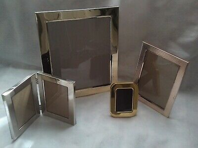 4 Modernmetallic Stand Up Picture Frames Lot Set Various Sizes Fashion Home Garden Picture Frames Standing Multi Picture Photo Frames Brick Patterns Patio