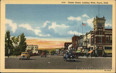 UT Provo Utah Center Street Looking West Curteich No