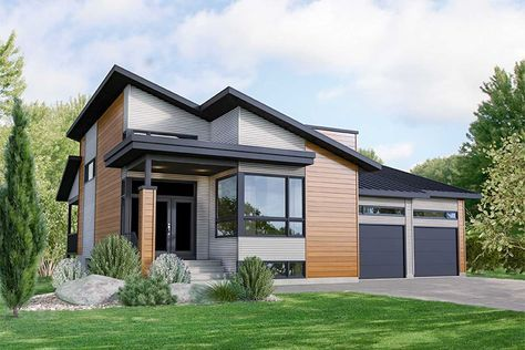 Plan 80913pm Modern 3 Bed House Plan With 2 Car Garage Modern Bungalow House Modern House Exterior House Designs Exterior