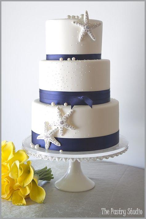 Classic navy & white nautical wedding cake design.