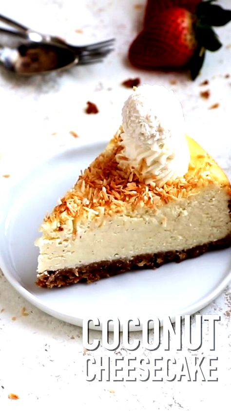 This Coconut Cheesecake is very easy to make! You need just 9 ingredients and 15 minutes of hands on preparation time. #coconut #cheesecake #baking #desserts #easterrecipes
