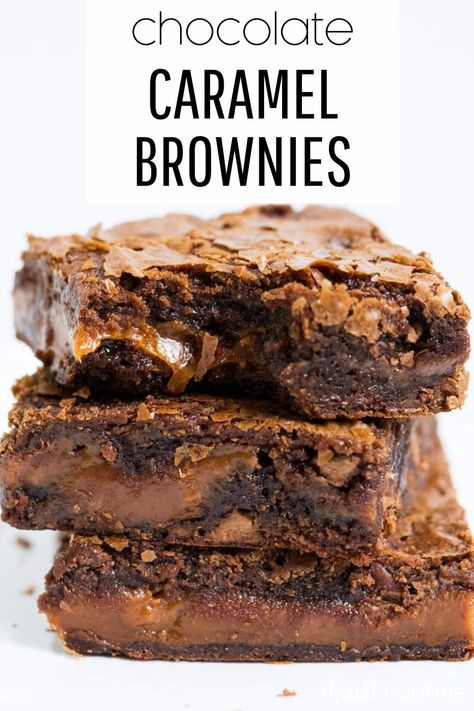 These chocolate caramel brownies are super rich and fudgy, with gooey caramel oozing out. #brownies #caramel #caramelbrownies #chocolate #chocolaterecipes #chocolatedesserts #baking #fudgy #desserts #dessertrecipes #recipes #iheartnaptime