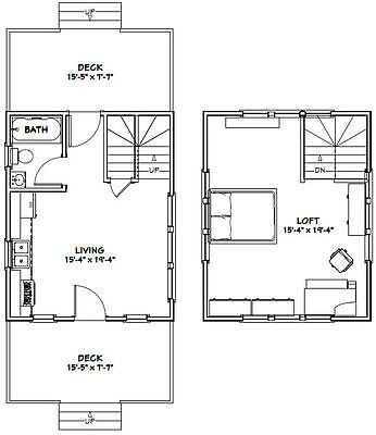 16x20 Tiny House -- 574 sq ft -- PDF Floor Plan -- Model 4B