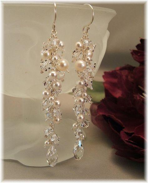 Hochzeit Tag Ohrringe Eiszapfen Perlen Ohrringe von BridalDiamantes