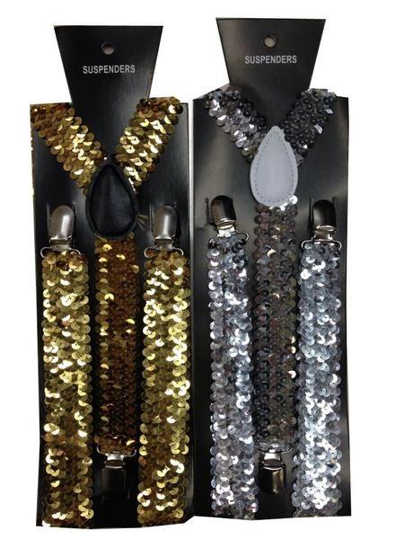 NEW Gold SPARKLE Glitter SUSPENDERS EMO