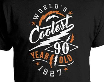 90th Birthday T Shirt Gifts Present Custom Worlds Coolest 90 Year Old 1927 Mens Ladies Tee DAT 667