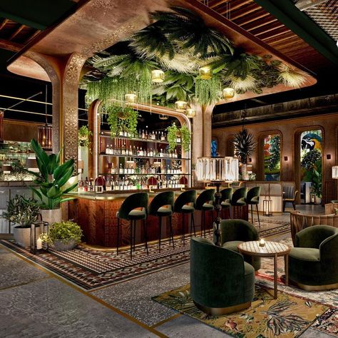 Chica Miami, the second collaboration between Chef Lorena Garcia and John Kunkel's 50 Eggs, Inc., is nearing its November opening! Lounge Design, Bar Lounge, Bar Interior Design, Restaurant Interior Design, Commercial Interior Design, Cafe Design, Deco Restaurant, Casas The Sims 4, Café Bar