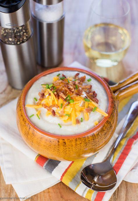 Hearty Baked Potato Soup ~ http://www.garnishwithlemon.com