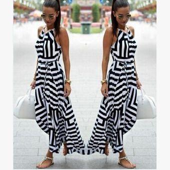 d7a8736a6 Stripe Spaghetti Strap O-neck Irregular Sleeveless Long Dress ...