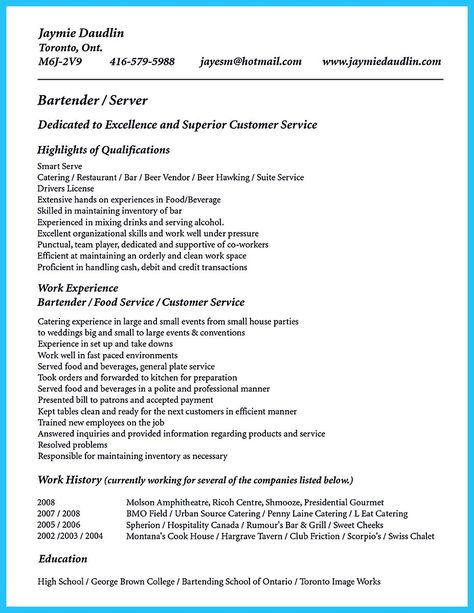cool Cocktail Server Resume Skills to Convince Restaurants or Café - bartender server resume