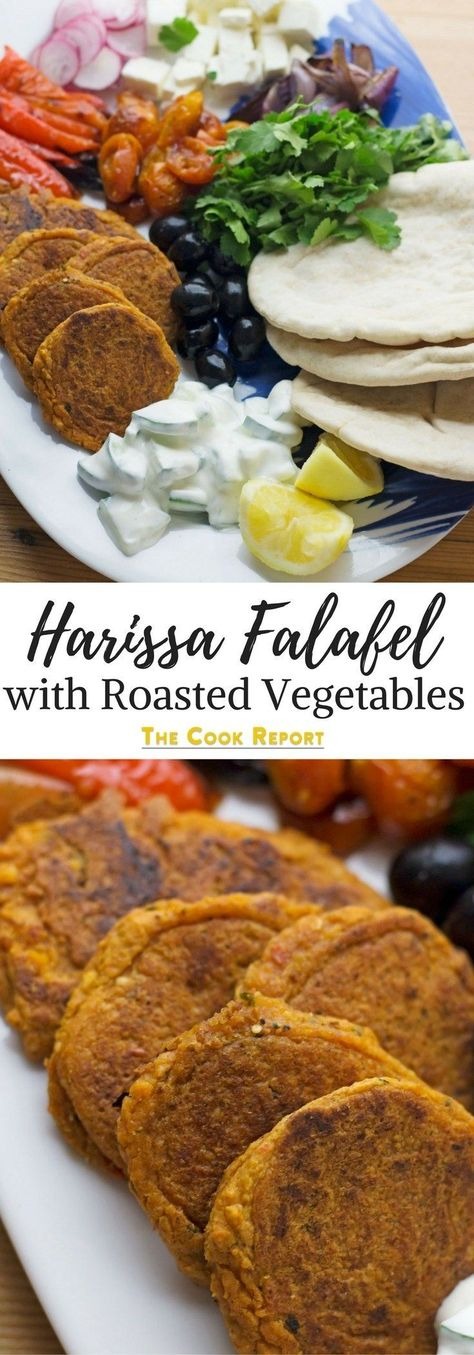 This harissa falafel recipe is spiced with rose harissa & aleppo chilli flakes. Serve with roasted vegetables & cucumber yoghurt for a delicious meal! #falafel #harissa #vegetarianfood #vegetarianrecipe #thecookreport