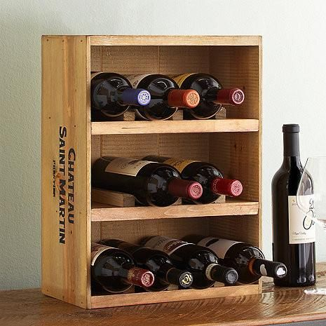 Wine Crate Rack 12 Bottles Wooden Wine Rack Wine Crate Wine Wall Decal