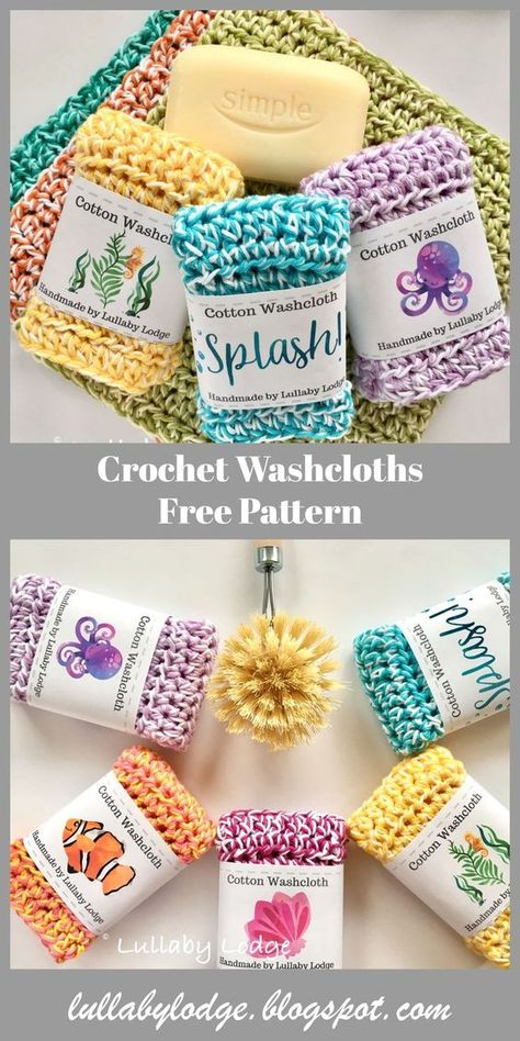 Learn how to make these gorgeous colourful crochet washcloths. Easy pattern suitable for beginners. Can be used as dishcloths, washcloths, face cloths, spa cloths... #dishcloth #facecloth #spacloth #washcloth #crochetcloth #crochetpattern