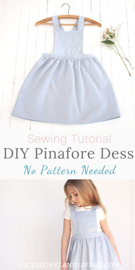 Learn how to make this beautiful pinafore dress without a pattern for any sized girl. This simple sewing tutorial is a great way to make handmade cloths for your kids and save money with a DIY dress project. Sewing Patterns Girls, Little Girl Dress Patterns, Dress Sewing Tutorials, Simple Dress Pattern, Kids Clothes Patterns, Baby Girl Dress Patterns, Sewing Kids Clothes, Tutorial Sewing, Sewing Projects