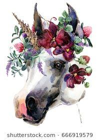 watercolor unicorn illustration. White horse in flower wreath