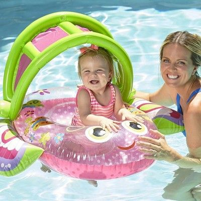 Pink SwimSchool Extra Wide Baby Boat with Retractable Canopy Inflatable Pool Float with Toys 6 to 18 Months