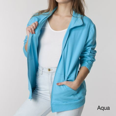 Stay warm and cozy while enjoying cool weather with this wonderfully soft American Apparel fleece jacket. It is available in a number of popular colors and unisex sizes. The jacket features a stand collar, a front zipper, and two kangaroo pockets.