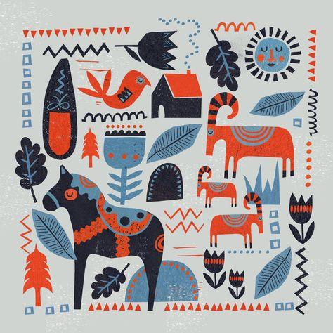 scandinavian design, dala horse, goat, christmas, pattern, print, lino, winter, colour, illustration
