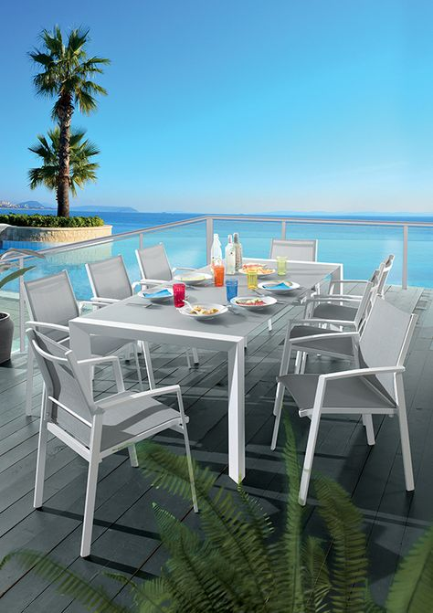 Garden Table 6 Persons in Composite and Aluminium W180 ...