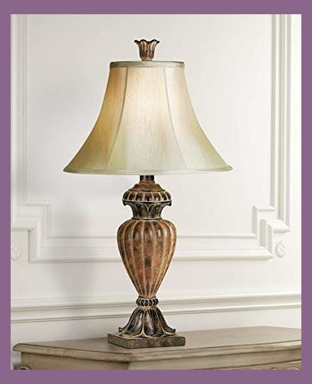 Tuscan Master Bedroom Traditional Table Lamp Urn Two Tone Bronze Off White Bell Shade F Traditional Table Lamps Traditional Lamps Table Lamp