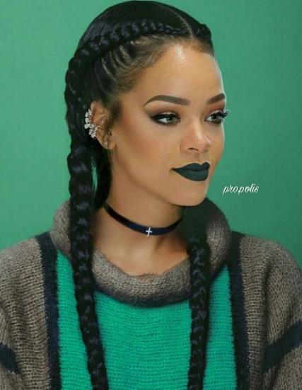 Hairstyles Braided Rihanna 34 Ideas Rihanna Hairstyles Two Braid Hairstyles Braided Ponytail Hairstyles