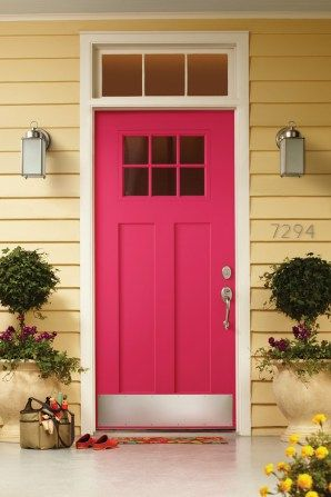 50 Best And Popular Front Door Paint Colors For 2019 Images Pink Front Door Bold Front Door Colors Yellow House Exterior