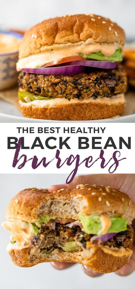 Crispy Black bean burgers are so much healthier, cheaper and tastier homemade and can be grilled or cooked on the stovetop, in the oven, or in the air fryer! Homemade Veggie Burgers, Veggie Recipes, Vegetarian Recipes, Dinner Recipes, Recipe For Veggie Burgers, Vegetarian Barbecue, Hamburger Recipes, Vegetarian Cooking, Veggie Food