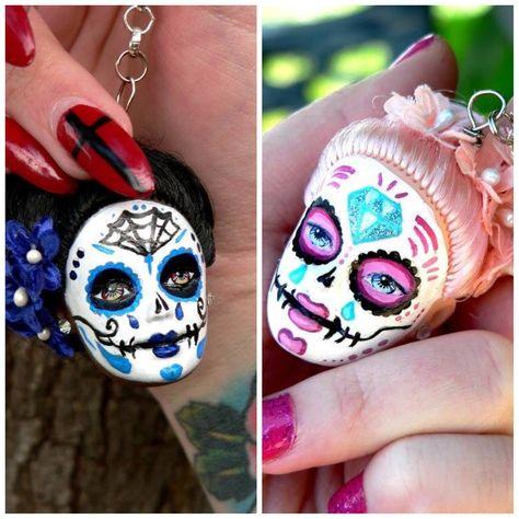 Sugar skull keychains from Barbie doll heads