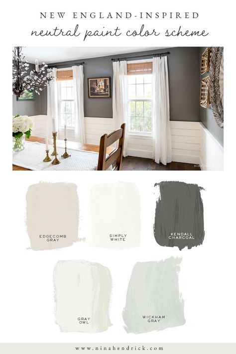 Read the Color Story of this New England Neutral Paint Color Scheme and learn how to discover the perfect neutral paint colors for your own home. Paint Colors For Living Room, Paint Colors For Home, My Living Room, Best Paint Colors, Paints For Home, Home Paint, Paint Colors For Kitchen, Neutral Living Room Colors, Cabin Paint Colors