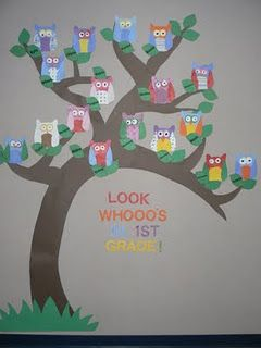 Cute 1st day of school idea. Comes with the patterns for the owls and leaves!