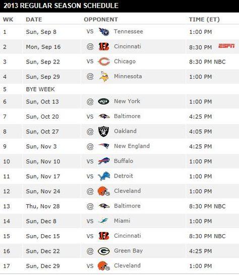 2013 Pittsburgh Steelers Schedule
