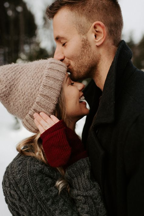 Winter Couples Session on a Christmas Tree Farm