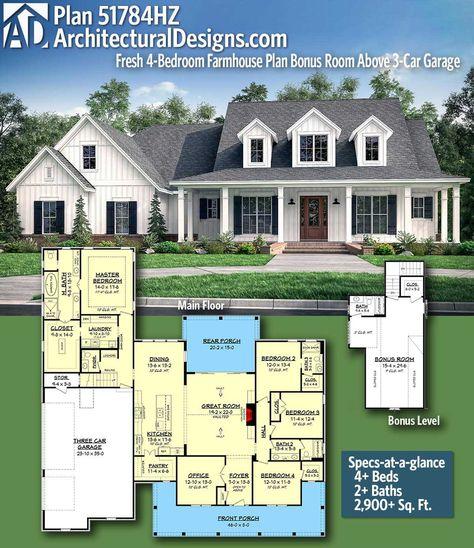 Plan 51784hz Fresh 4 Bedroom Farmhouse Plan With Bonus Room Above 3 Car Garage Farmhouse Plans House Plans Farmhouse Dream House Plans
