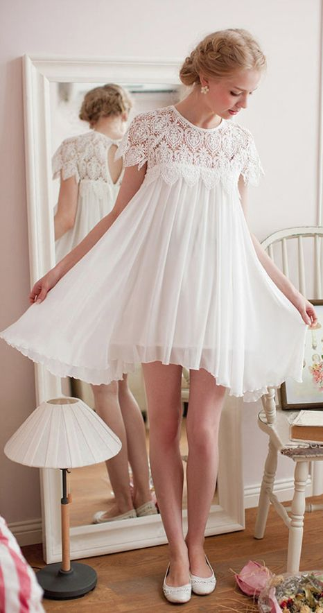 This was Ava\'s Bridesmaid dress!! WHITE EYELET LACE PLEATED BABYDOLL ...