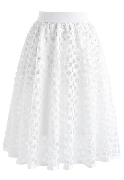 Charming Honeycomb A-Line Midi Skirt in White - NEW ARRIVALS - Retro, Indie and Unique Fashion