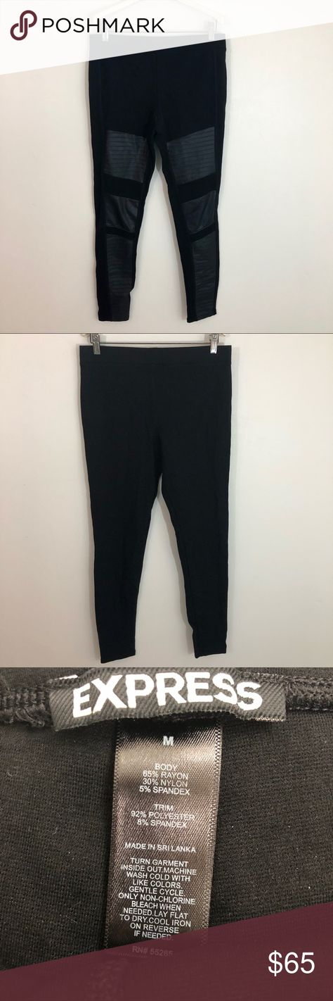 5706c929eb82a Express Moto Faux Leather Panel Leggings Black M Size medium Faux leather  panel leggings No flaws So cute! Motorcycle Moto skinny Express Pants  Leggings