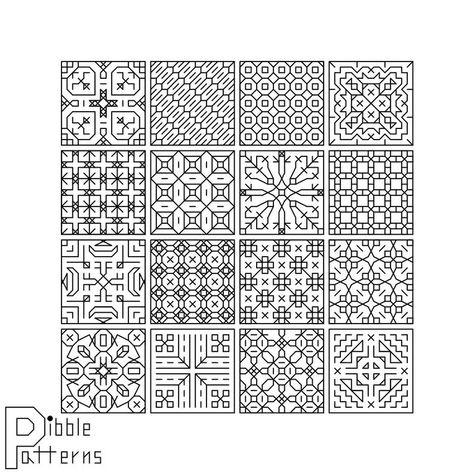 Blackwork Sampler 2 - Modern Cross Stitch Pattern PDF File - Instant Download