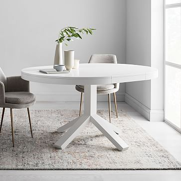 Poppy Expandable Dining Table, Round White Dining Tables